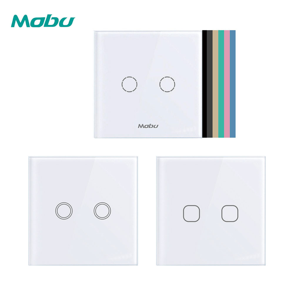 Mobu  2 Gang 1 Way, Wall Light, Touch Switch, Wall Home Switch, Crystal Glass Panel, EU Standard, 100-250 V, D602