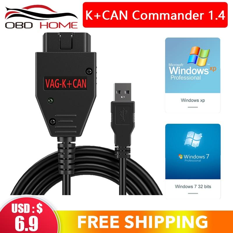 OBD2 pour VAG K + peut Commander 1.4 avec FTDI FT232RL PIC18F258 puce OBD2 câble dinterface diagnostique pour VW pour AUDI pour siège