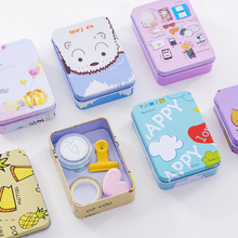 Cartoon storage box mini tinplate jewelry gift card small iron box desktop storage finishing storage box ttlife colorful mini tinplate metal box sealed jar packing boxes jewelry candy box small storage cans coin earrings gift box new