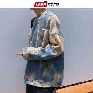 Image 2 - LAPPSTER hommes Harajuku cravate colorant surdimensionné sweats à capuche 2020 automne hommes japonais Streetwear sweat shirts mâle coton Hip Hop à capuche