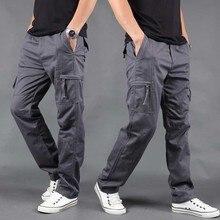 Модные брюки карго, мужские повседневные брюки, Свободные мешковатые хлопковые брюки с несколькими карманами, штаны для бега, мужская одежда