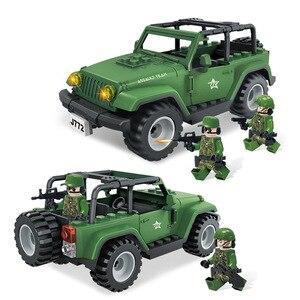 Милитари, маленькие частицы в сборе, джип-автомобиль, внедорожный автомобиль, кукла, строительный блок, детская игрушка J772, кирпич, Рождеств...