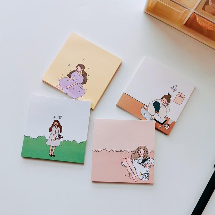 SIXONE 50 Sheets Korea Ins Urban Girl Cartoon Note Paper Concise No Stickiness Student Kawaii Diary Memo Pad School Stationery