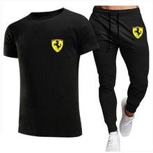 Casualfashion men's 2021 casual short-sleeved shirt + pants suit men's 2-piece micro-label brand Ferrari printed sportswearS-XXL