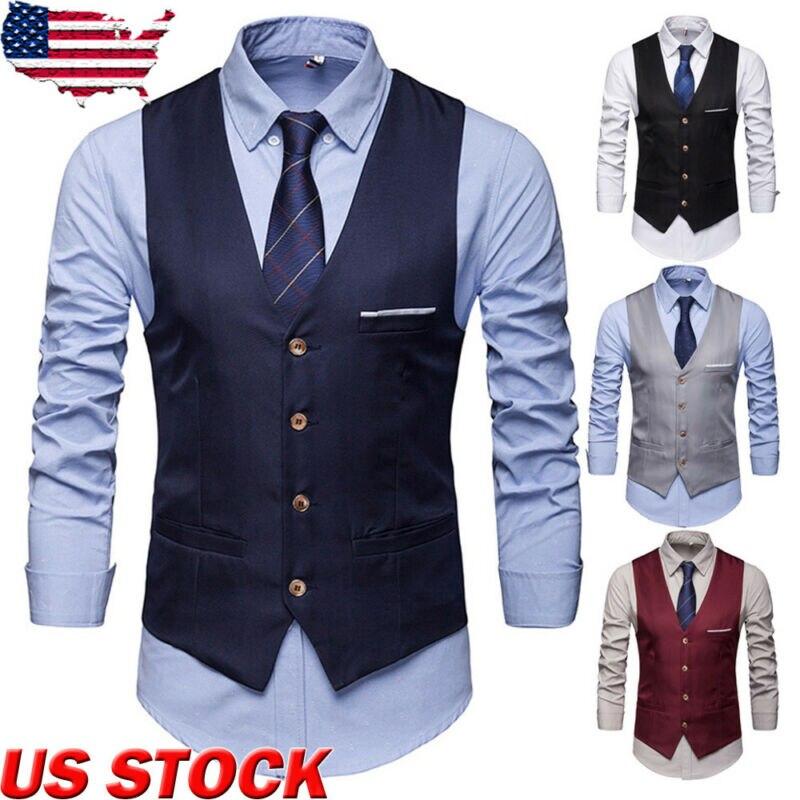 Plus Size Men/'s Formal Business Slim Fit Dress Vest Suit Tuxedo Waistcoat Tops
