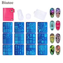 Biutee 12PCS Leaves Flowers Pattern Nail Stamping Plates Image Painting Art Stencils Template Manicure Stamp Tools
