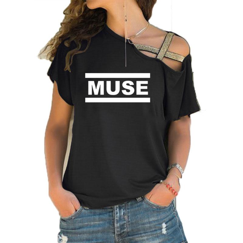 Muse T Shirts Women Muse T Shirt Summer Short Sleeve Cotton Irregular Skew Cross Bandage T Shirts Tops Rock Band T-Shirts Casual Clothing