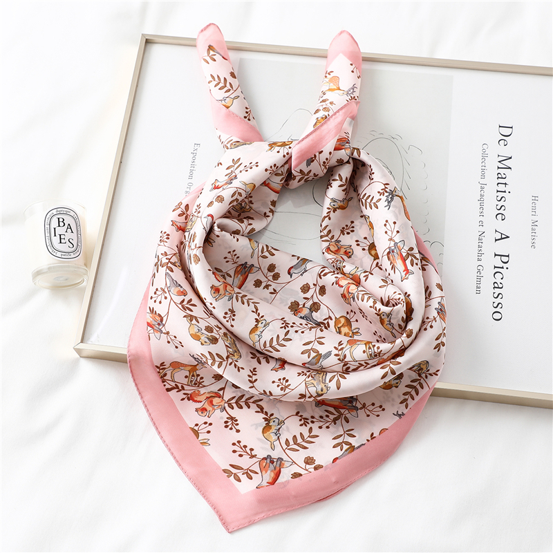 Design Silk Scarf For Women Trees Animal Print Lady Neck Hair Scarves Bag Tie Shawls Foulard Bandana Floral Square Kerchief