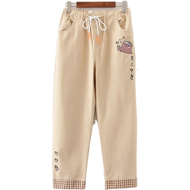 Khaiki Solid Cartoon Embroidery Korean Casual Women Pants Autumn Elastic Waist Straight Pants Ladies Basic Casual Trouser