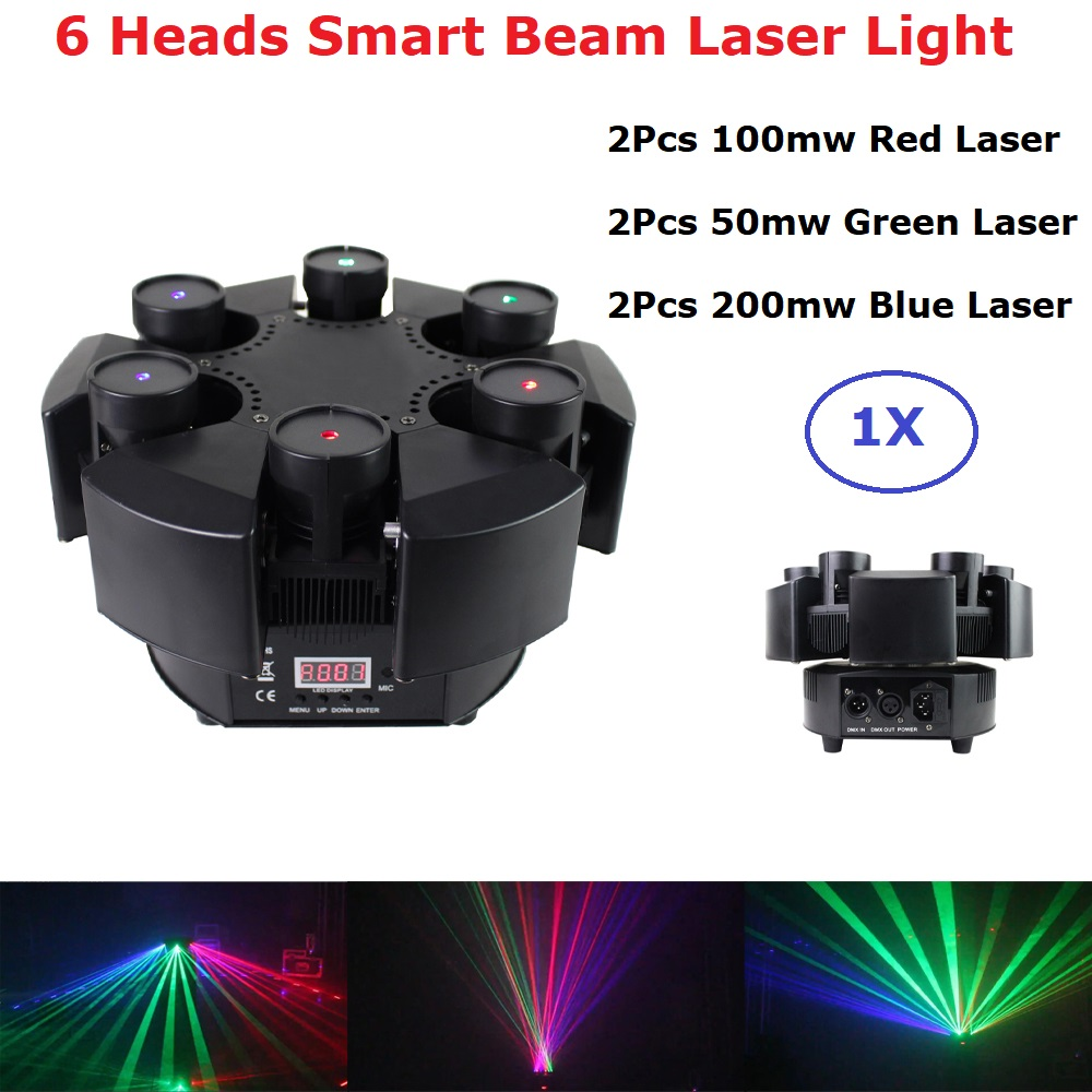 2020 New Smart 6 Heads Moving Head Beam Laser Light RGB Floral Color Laser Light Projector Unlimited Rotating Disco Laser Light