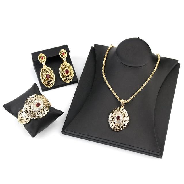 Sunspicems-Conjunto de joyería de boda Chic marroquí, pendientes de gota de Color dorado, brazalete, colgante, collar, regalo de Metal hueco árabe 4