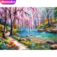 MomoArt Diamond Painting Tree Embroidery Landscape Mosaic Full Square Drill Home Decoration Accessories