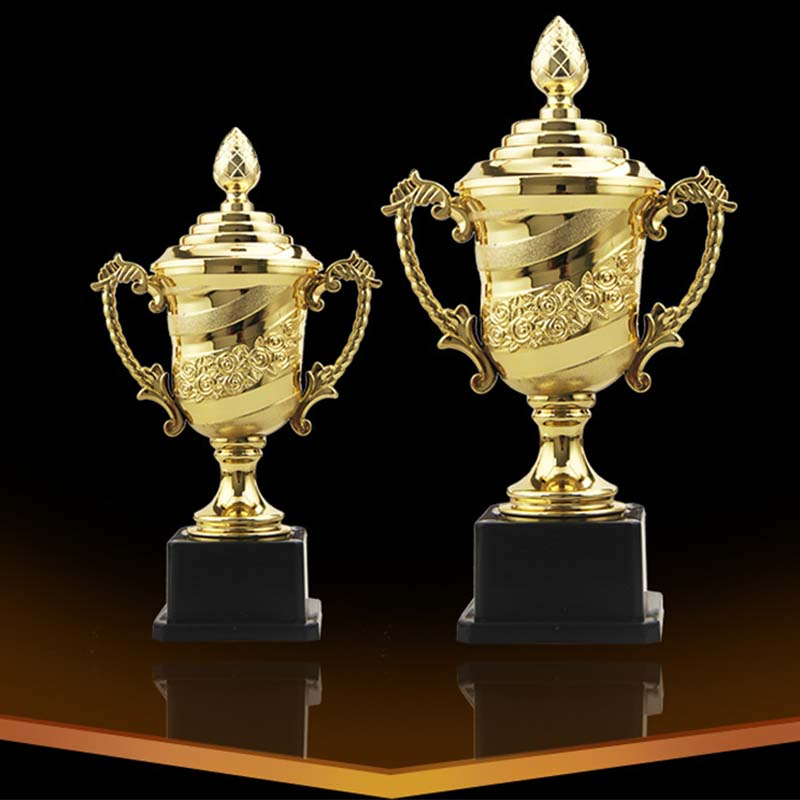 Customized Rose Trophy Electroplating Gold Game Souvenirs Student Children Funny Small  League Trophies Cup Commemorate Medal