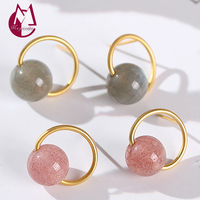 Women Stud Earring 100% Real 925 Sterling Silver and 14K Gold Plated Powder Strawberry Crystal Earring fine Jewelry 2019 E24