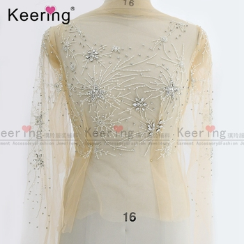 (Front and sleeves)Hand-made Silver Rhinestone  bodice applique Dress Patch For Wedding Dress WDP-211