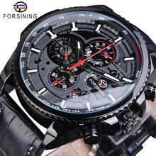 Forsining Full Black 2019 Mens Sport Automatic Wrist Watch Top Brand Luxury Transparent Calendar Display Mechanical Hours Clock tanie tanio 3Bar Buckle Fashion Casual Automatic Self-Wind 25cm Stainless Steel Complete Calendar Water Resistant Luminous Hands PU1137-4