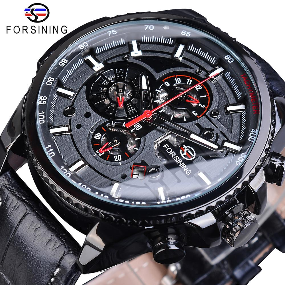 Forsining Full Black 2019 Mens Sport Automatic Wrist Watch Top Brand Luxury Transparent Calendar Display Mechanical Hours Clock