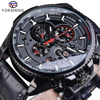 Forsining Full Black 2019 Mens Sport Automatic Wrist Watch Top Brand Luxury Transparent Calendar Display Mechanical Hours Clock top brand luxury forsining mechanical wrist watch men calendar black genuine leather strap popular automatic watch fsg231m3s2