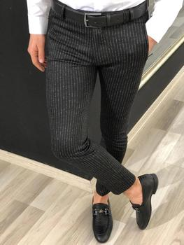 Autumn Striped Dress Trousers Men's Polyester Wool Male Suit Pants Korean Business Work Office Trousers Version Slim MJ210