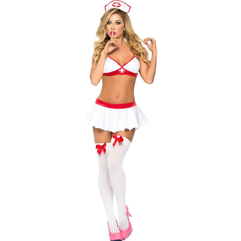 2019 Women Sexy Lingerie Nurse Uniform Costumes Role Play Hot Sexy Underwear Female White Lace Erotic Temptation Babydoll