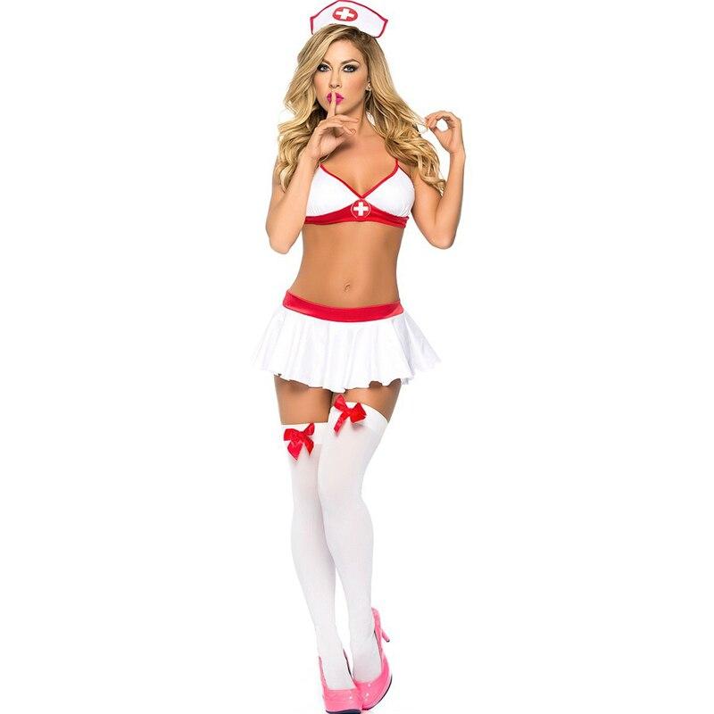2019 Women Sexy Lingerie Nurse Uniform Costumes Role Play Hot Sexy Underwear Female White Lace Erotic Temptation Babydoll