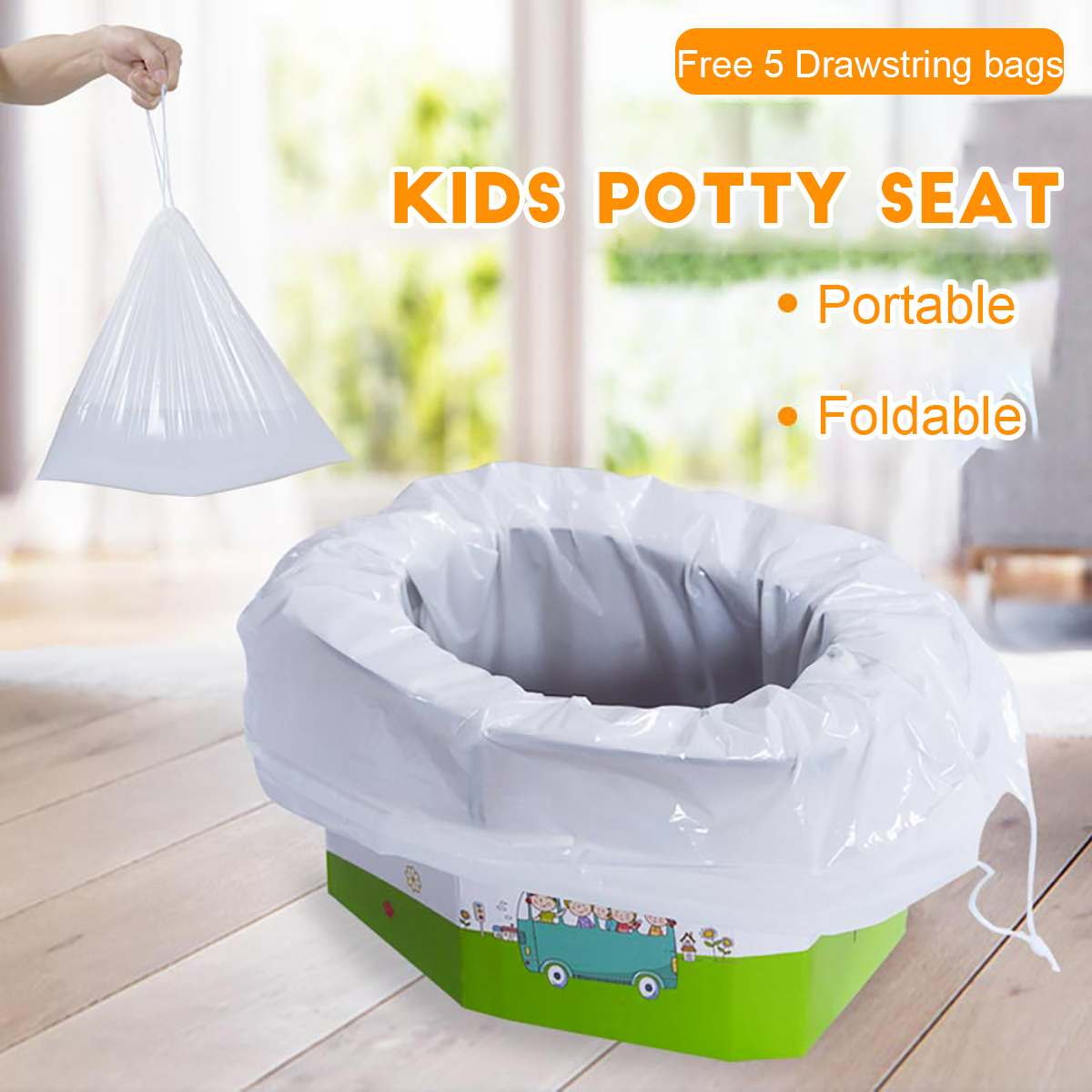Portable Child Pot Toilet Seat Pot For Travel Outside Car Potty Seat Children's Potty Kids Toilet Potty Toilet With 5 Bags