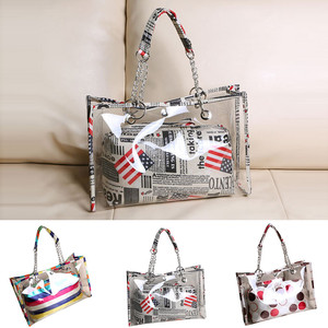 Women Fashion Clear Transparent Bag Women Large Shoulder Bags Jelly Candy Color Strap PVC Totes Summer Beach Bag Stripped Print