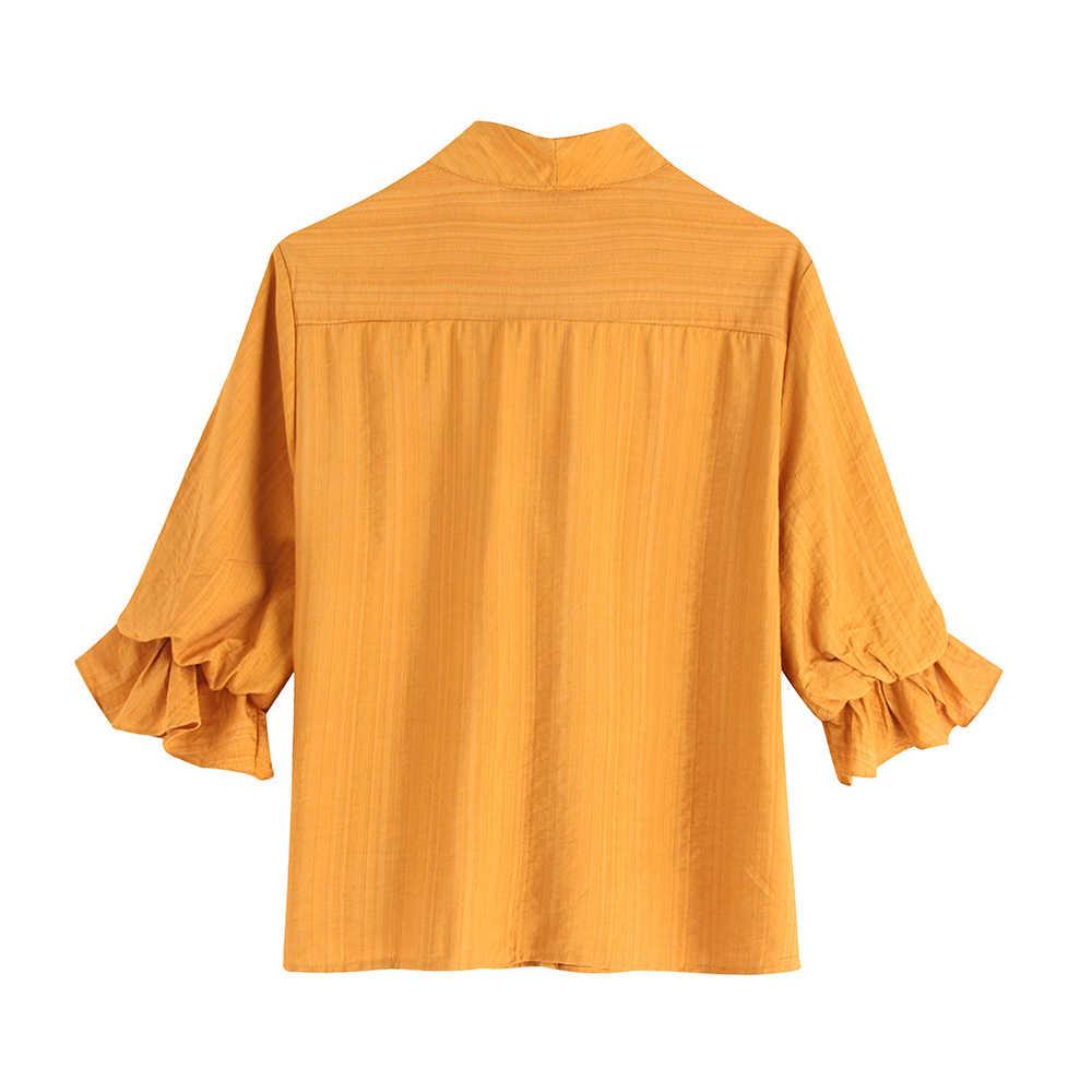 Elegante Senhora Do Escritório do vintage Babados Blusas Mulheres 2019 Moda Bow Tie Collar Manga Curta Camisas Das Senhoras Blusas Mujer Topos Chiques