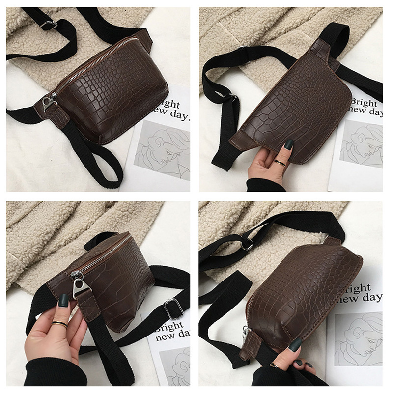 New Alligator Leather Fanny Pack Phone Pouch Bags for Girls Women Wide Strap Belt Purse Mujer Fashion Waist Chain Tote Capacity