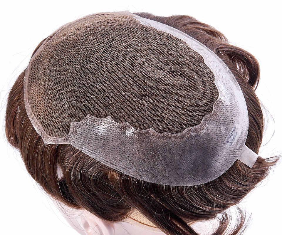Encaje francés y peluquín de piel fina transparente sistemas de reemplazo hechos a mano hombres peluca Natural Remy indio pelo humano 6 pulgadas