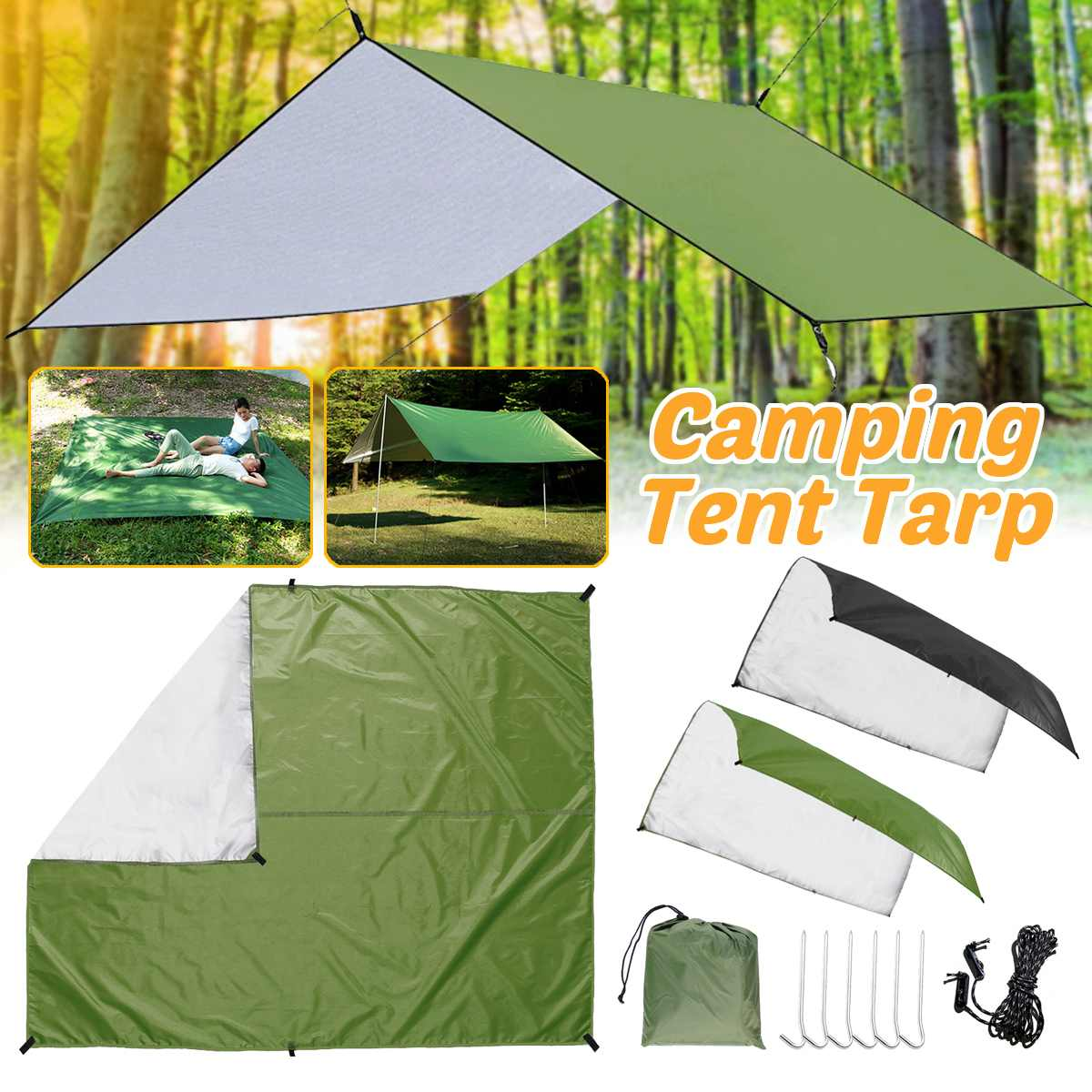 Camping Hammock Rain Fly Tent Tarp 3x3m Waterproof Portable Shelter for Outdoor