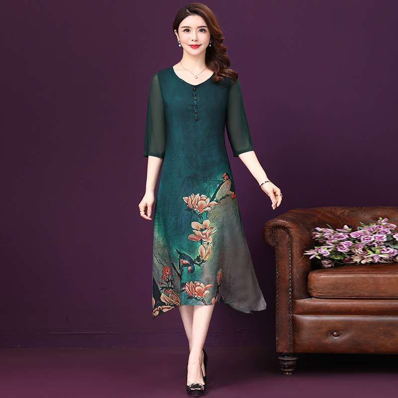 Photo Shoot 2019 Amoi Mulberry Fang Can Si Vintage Printed A- Line Swinging Skirt Loose And Plus-sized Imitated Silk Fabric Dres
