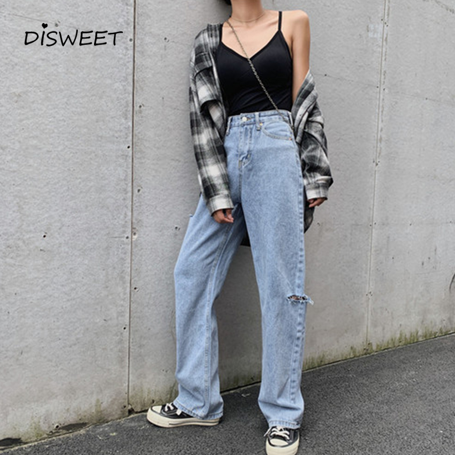Fashion High Waist Ripped Straight Jeans Woman Simple Loose Washed Button Jeans Jeans Temperament Slim New Solid Jeans Women