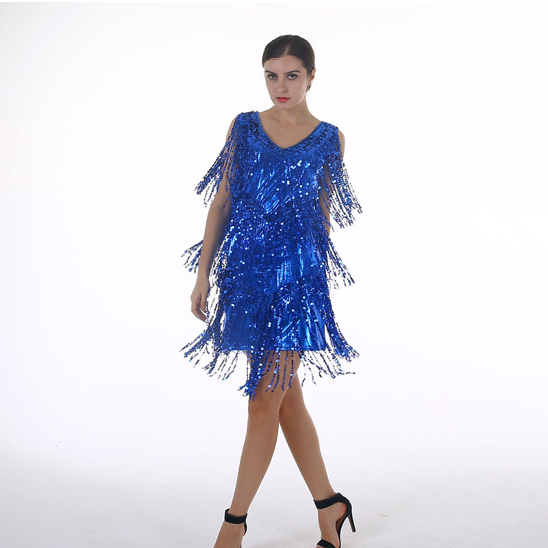 1920s Flapper Dress Roaring 20s Great Gatsby Sequin Rumba, Dance, Disco Dress Embellished Art Deco Women Summer Dress
