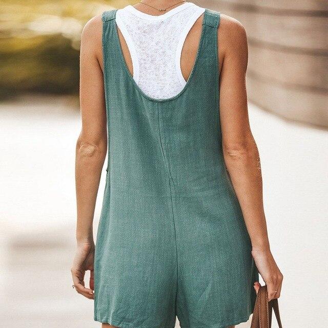 Adisputent 2020 Summer Jumpsuit Women Romper Cotton And Linen Sleeveless Suspender Buttons Pocket Shorts Casual Loose Suspenders 4