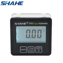 shahe IP65 Waterproof  Protractor With Back light inclinometer Angle Bevel Box Electronic Protractor Magnetic Base angle gauge