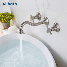 цена на Luxury Brushed Nickel Tap Wall Mounted Bathroom Basin Sink Faucet Solid Brass Hot & Cold Mixer  Bathtub Faucet.