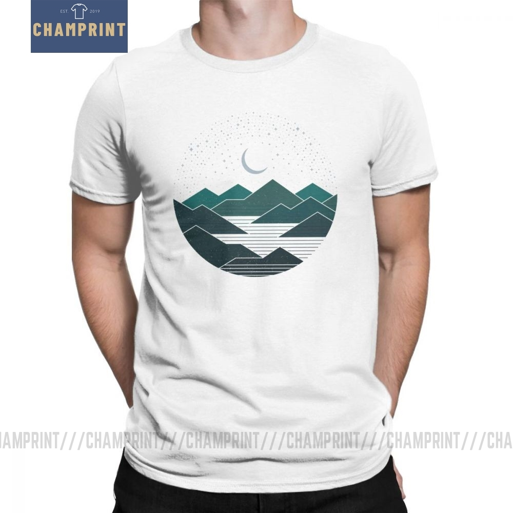 Men's Between The Mountains And The Stars T-Shirt Camping Hiking Trekking Novelty Crewneck Clothes Cotton Tees Graphic T Shirt