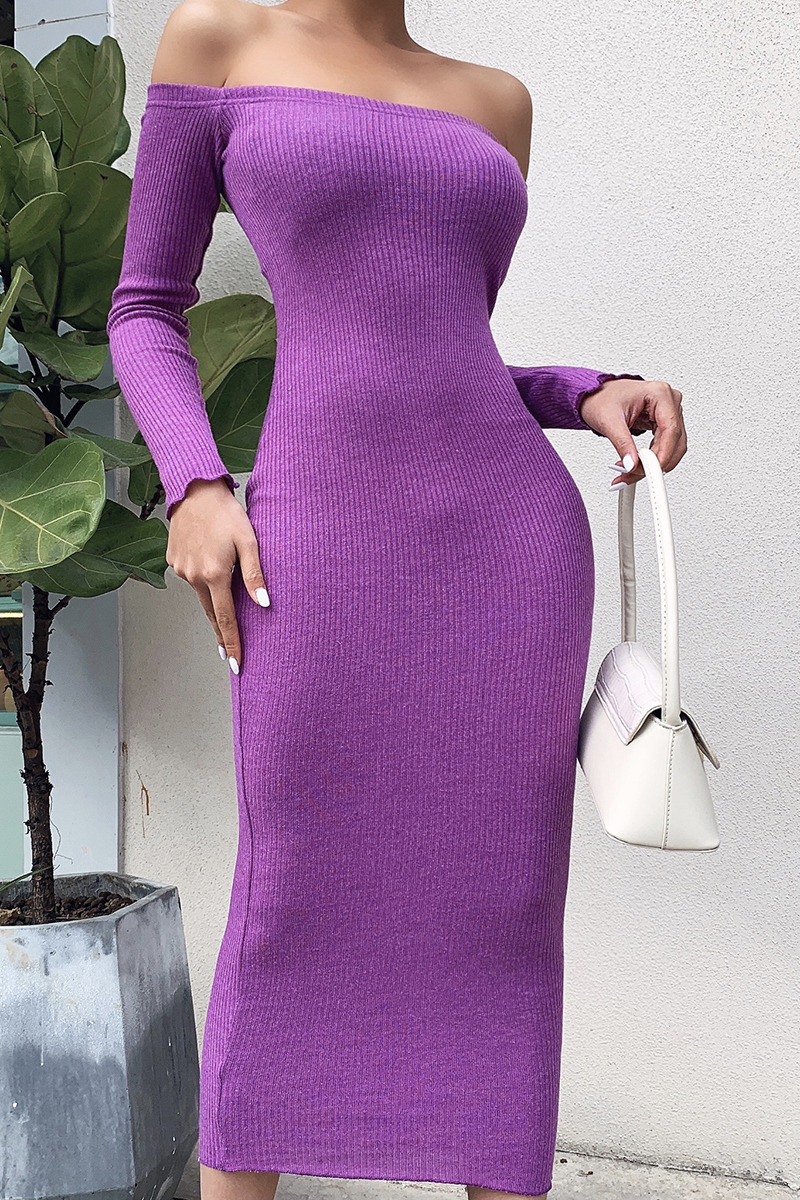 Off Shoulder Ribbed Knitted Long Sleeve Bodycon Midi Dress 9