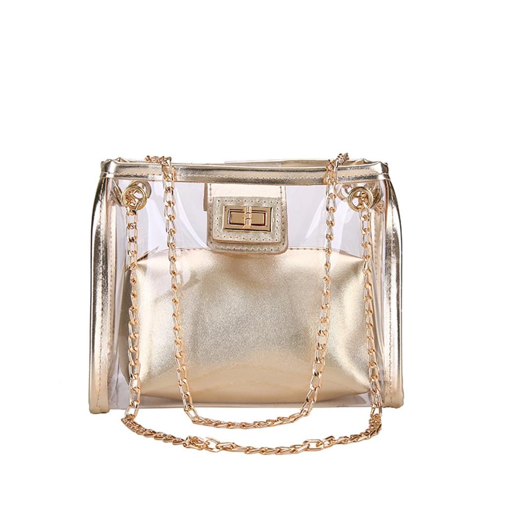 Women's Bag Fasion PVC Jelly Transparent Bag Composite Bag Square Package Super Chain Gold Silver Messenger Bag