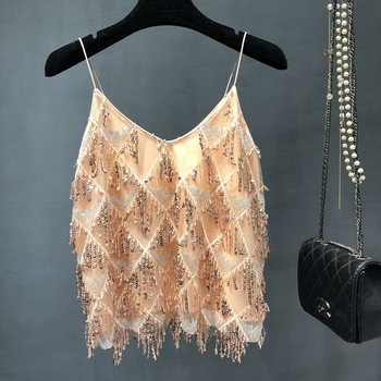 full Sequined Shiny Camis Bling Chain Geometric Party Tops A line Sexy Summer Clothes Tank Top hot Women Spaghetti