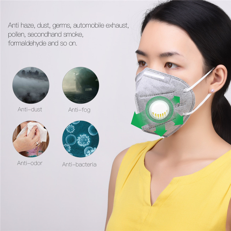 10pcs/set 3D Respirator Mask Folding Filter Breathing Anti-smog Anti-dust Anti-odor Windproof Ear-hook KN95 Protection Masks