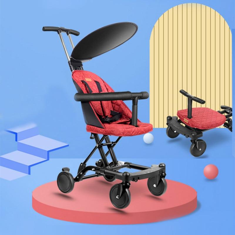 Lightweight Baby Stroller 2 In1 Newborn Foldable Travel Pram Baby Carriage Infant Four Wheels High Landscape Toddler Trolley