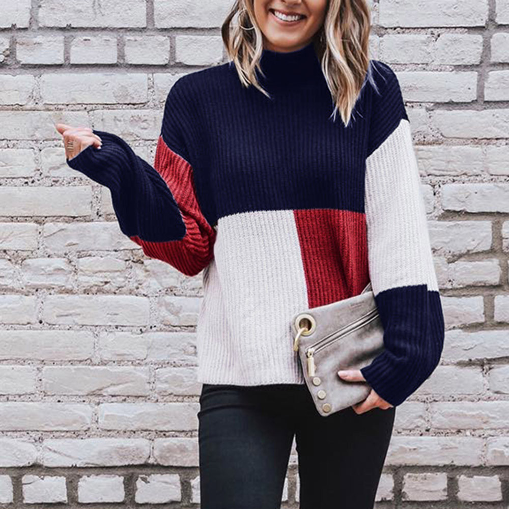 Women Personality Casual Color Matching Pullover Sweater Fashion Elegant Autumn Winter Sweater Daily Self-cultivation Comfort
