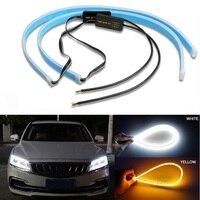 2x Ultrafine 30cm 45cm 60cm DRL luce di marcia diurna impermeabile flessibile flessibile tubo guida auto striscia LED accessori auto 12V