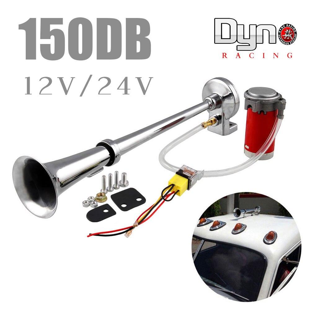 Воздушный рожковый компрессор, 150 дБ, супер громкий 12 В/24 В, с одной трубой, для автомобиля, грузовика, лодки, мотоцикла AH015