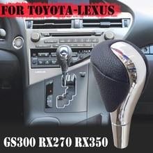 De cuero negro espejo palanca cromada mando para Toyota Lexus ES330 ES350 GS460 IS250 LX470 LS460 RX350 RX400H LX RX450H SC430 CT200H