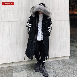 Image 1 - Winter hip hop fashion long fur collar coat 2018 cotton jacket Hoodies clothing Street wear outerwear & coats warm thick
