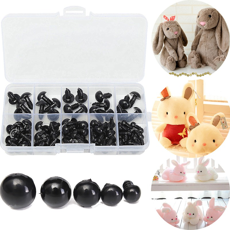 100Pcs 6-12mm Black Safety Plastic Eyes For Teddy Bear Doll Animal Crafts Box Doll Cartoon Animal Puppet Crafts Doll Accessories