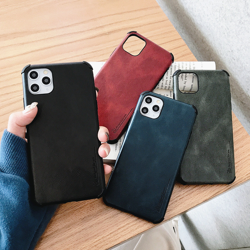 New Leather 4 Corners Shockproof Case For Samsung Galaxy Note 10 S10 S20 Plus Ultra A20 A30 A50 A30S A50S A51 A70 A71 TPU Cover image